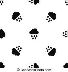 Cloud with rain drops pattern seamless black