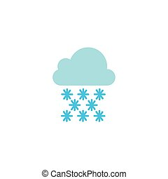 cloud with rain flat style icon