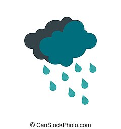Cloud with rain icon, flat style