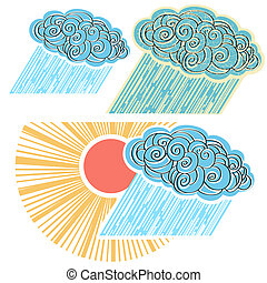 Cloud with rain isolated for design. Vector symbol illustration o