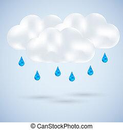 cloud with rain on blue. Vector illustration