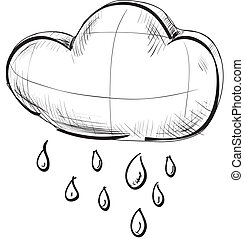 Cloud with rain weather icon