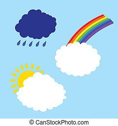 cloud with rainbow sun and rain