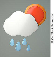 Cloud with raindrops and sun