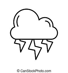 cloud with rays weather line style icon