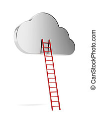 cloud with red ladder