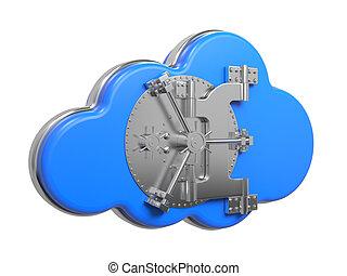 Cloud with Safe Door. Computing Concept.