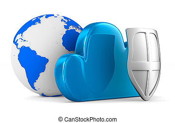 Cloud with shield on white background. Isolated 3D image