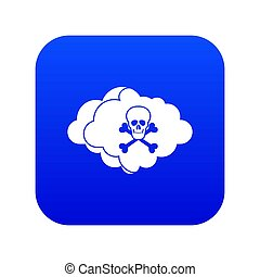 Cloud with skull and bones icon digital blue