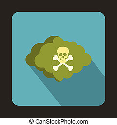 Cloud with skull and bones icon, flat style