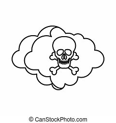 Cloud with skull and bones icon, outline style