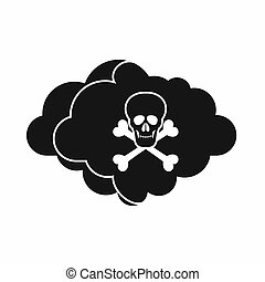 Cloud with skull and bones icon, simple style