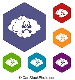 Cloud with skull and bones icons set
