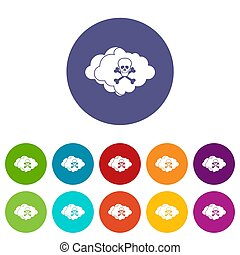 Cloud with skull and bones set icons