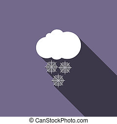 Cloud with snow icon, flat style