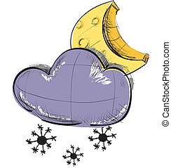 Cloud with snowflakes and moon weather icon
