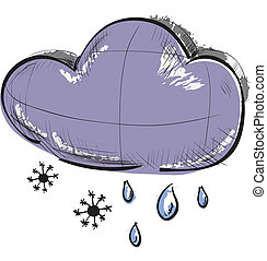 Cloud with snowflakes and rain drops weather icon