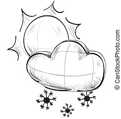 Cloud with snowflakes and sun weather icon