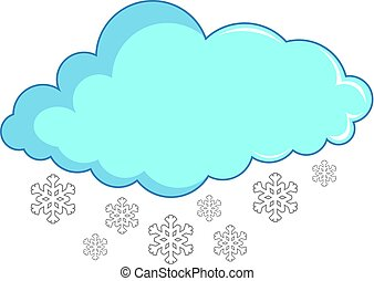 Cloud with snowflakes icon, cartoon style