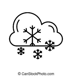 cloud with snowflakes weather line style icon