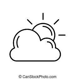 cloud with sun weather line style icon