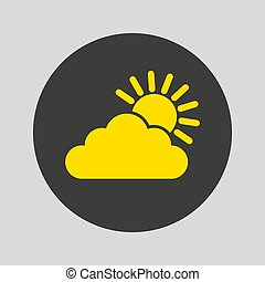 Cloud with the sun icon on gray background.