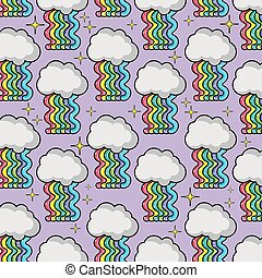 cloud with waves rainbow background design