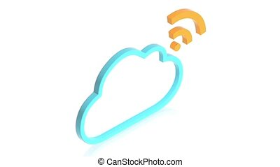 Cloud with wifi sign - part of isometric collections of...
