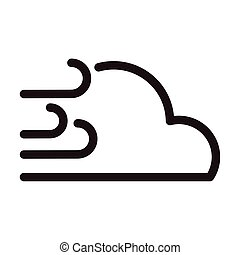 cloud with wind, line style icon