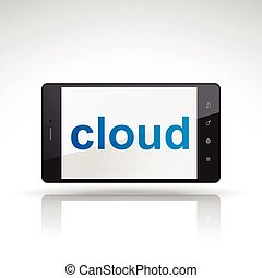 cloud word on mobile phone