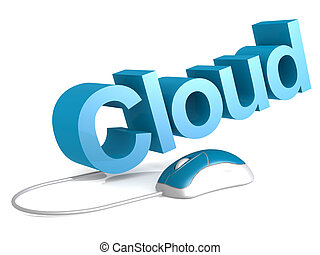Cloud word with blue mouse