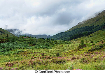 clouded Glenfinnan scenery - hilly scenery in Scotland...