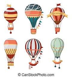 cloudhopper, vektor, balloon, levegő, csípős, utalvány, ikonok, retro, léggömb, hajóút, fesztivál