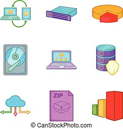 Clouding icon set, cartoon style