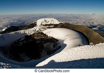 cloudless crater - sleeping volcano crater of cotopaxi,...