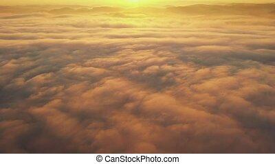 clouds, над, летающий, утро, поздно, sun.