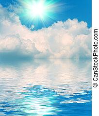 clouds, отражение, небо, поверхность, воды, задний план, пульсация, мягкий
