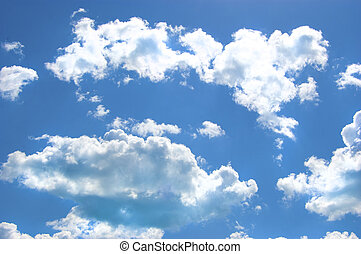 Blue sky with big, white, puffy clouds