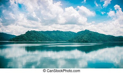 clouds and blue sky with Mountain and Lake