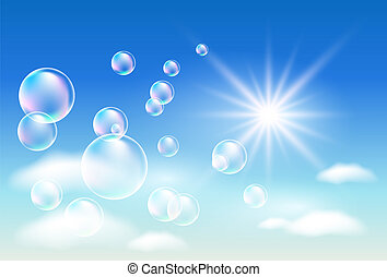 Clouds and bubbles - Sky, clouds, bubbles and sunshine ...