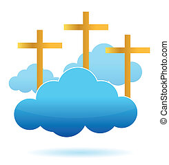 clouds and crosses illustration