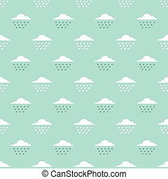 clouds and drops pattern - Seamless pattern with clouds and...