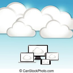 clouds and electronics illustration