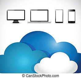 clouds and electronics. illustration design