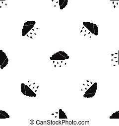 Clouds and hail pattern seamless black