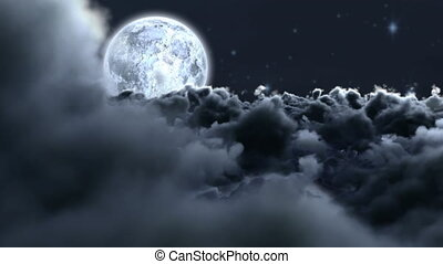 Clouds and moon at night
