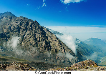 Clouds and mountains, Caucas Mountains, Karmadon, Russia