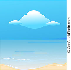 Clouds and ocean beach vector