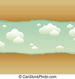 Clouds And Old Paper, Vector Illustration