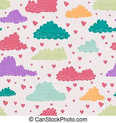 Clouds and rain of hearts.
